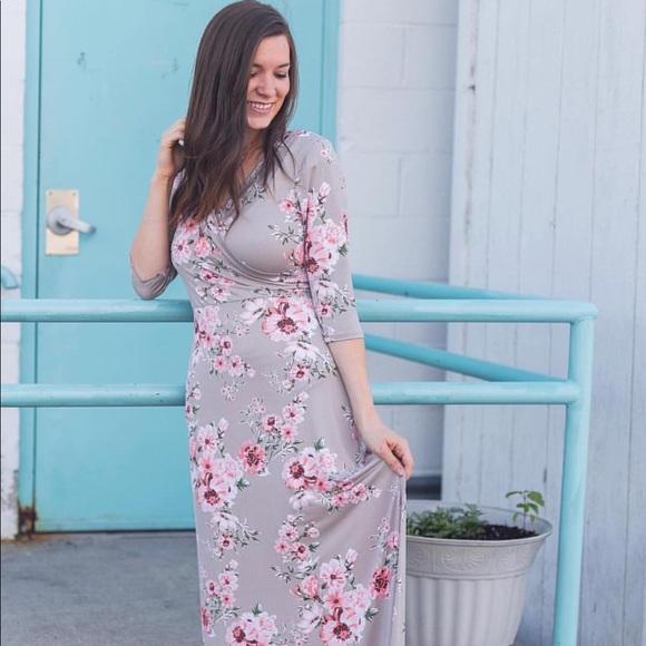 43d8af52385e Red Dress Boutique Dresses | Modest Boutique Tan Floral Faux Wrap ...